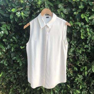 Theory Sleeveless Ivory Silk Button Down Blouse M